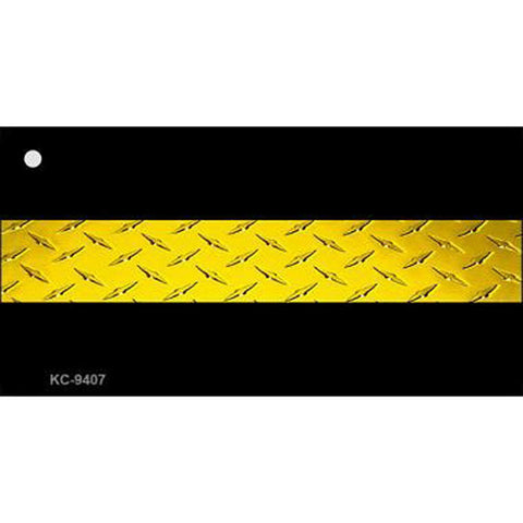 Thin Gold Line Diamond Plate Key Chain
