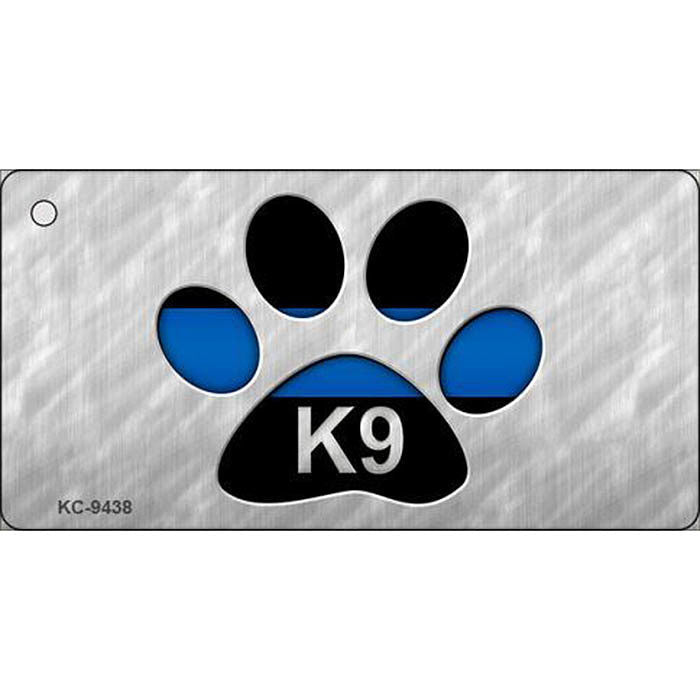 Thin Blue Line K9 Paw Print Key Chain