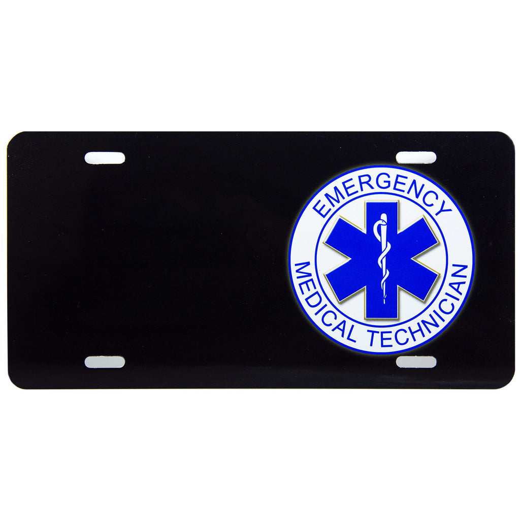 License Plate Black Emergency Medical Technician
