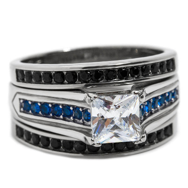 Black and Blue Three Piece Wedding Ring