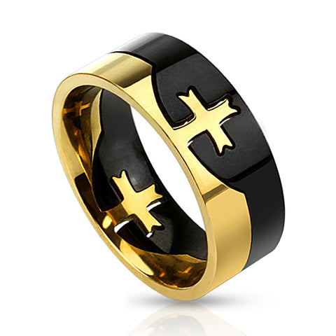 Thin Gold Line Cross Ring Stainless Steel Two Tone Cross Puzzle