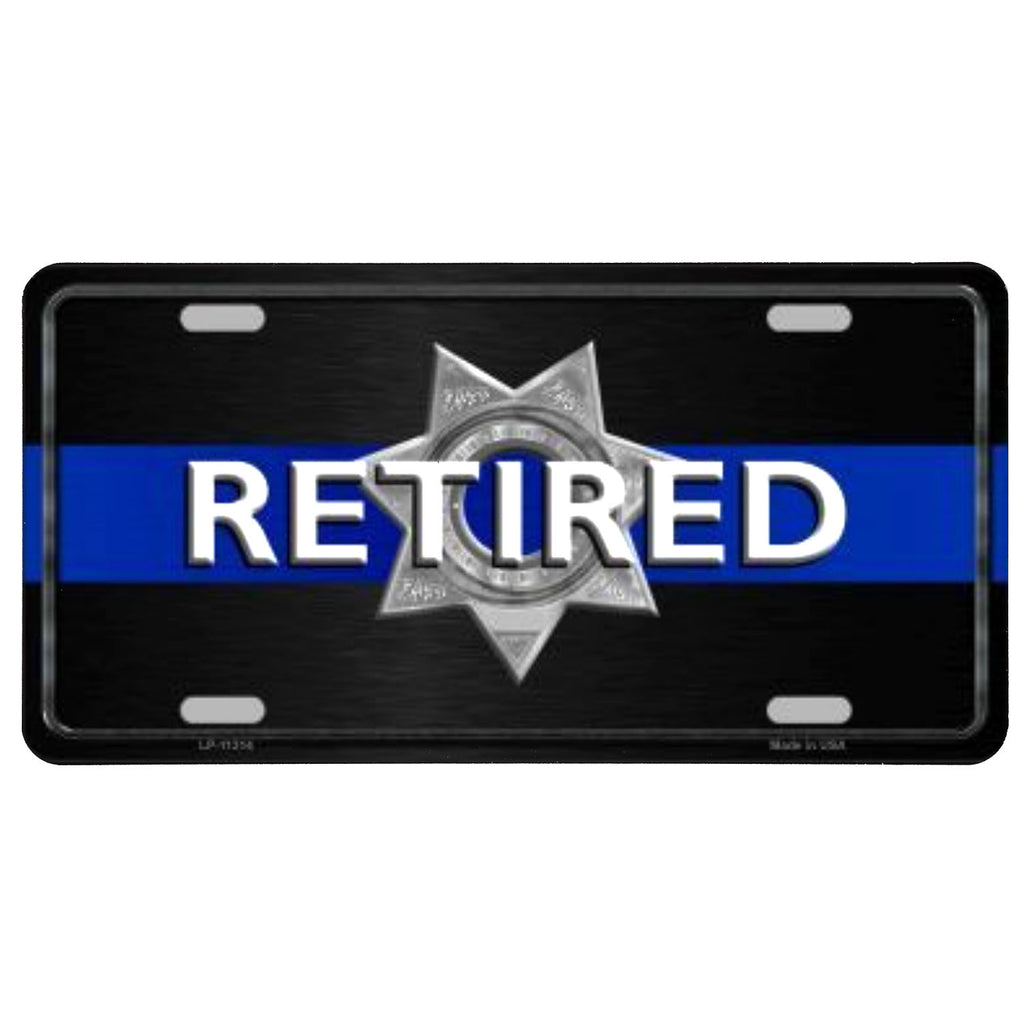 Thin Blue Line Retired Police Plate