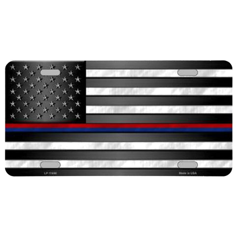 Police Firefighter American Flag Plate