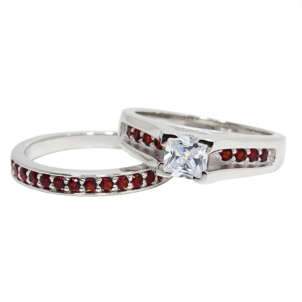 Thin Red Line Engagement 2 Piece Set Sterling Princess Cut CZ