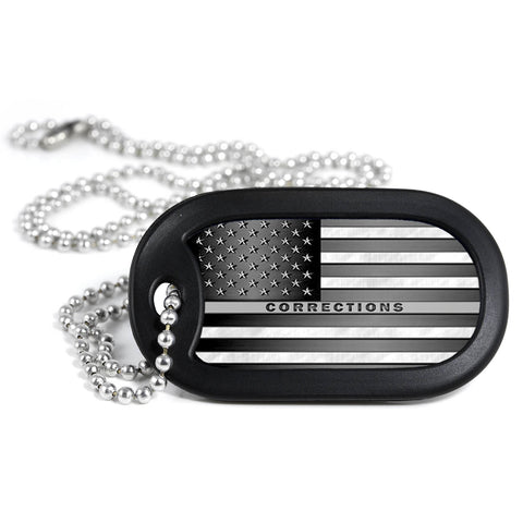 Thin Silver Line American Flag Metal Dog Tag Necklace