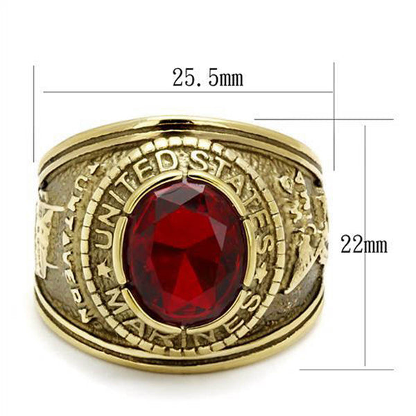 Marines Mens United States Military Ring Red Stone Gold Stainless Steel