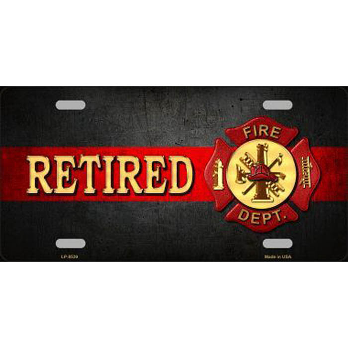Retired Firefighter Metal License Plate