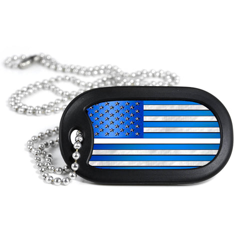 Thin White Line American Flag Metal Dog Tag Necklace
