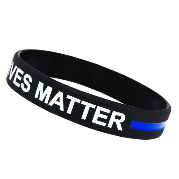 Thin Blue Line Rubber Bracelet