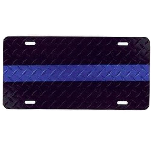 License Plate Thin Blue Line on Black Textured