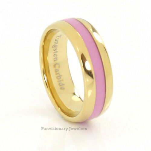 8mm Breast Cancer Awareness Gold Tungsten Ring Pink Inlay