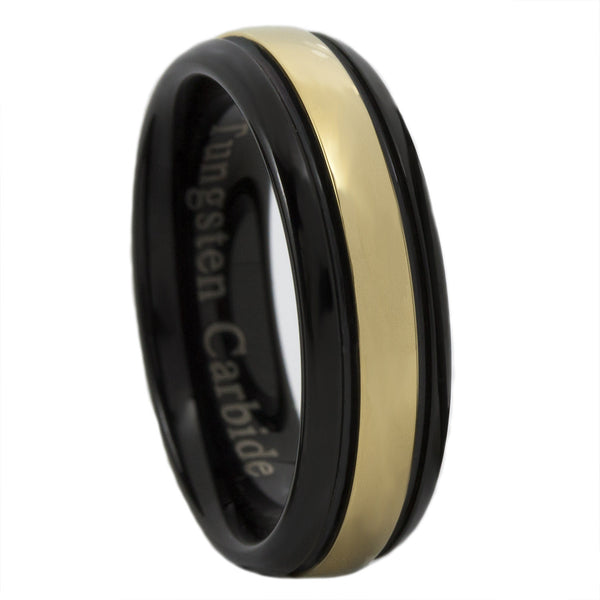 Gold And Black Ip Tungsten Carbide Thin Gold Line Dispatch Ring 6mm Honor Valor