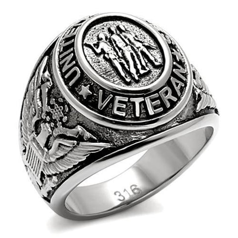 Ring Veterans United States Military Stainless Steel Silver Signet