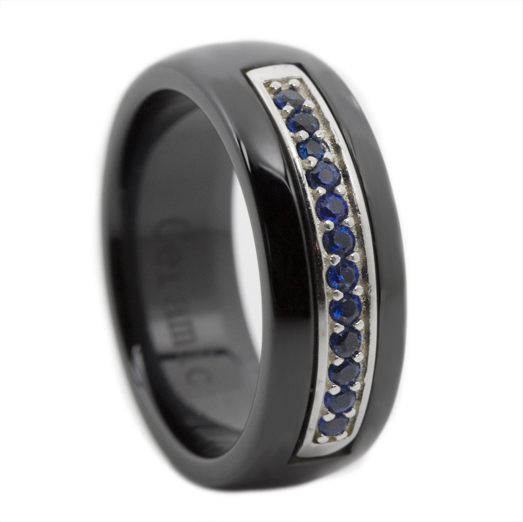 Thin Blue Line Ceramic Ring with 12 Sapphire Blue Cz Stones 8mm