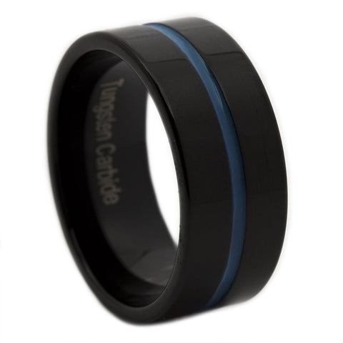Thin Blue Line Tungsten Ring 9MM Flat Thin Profile