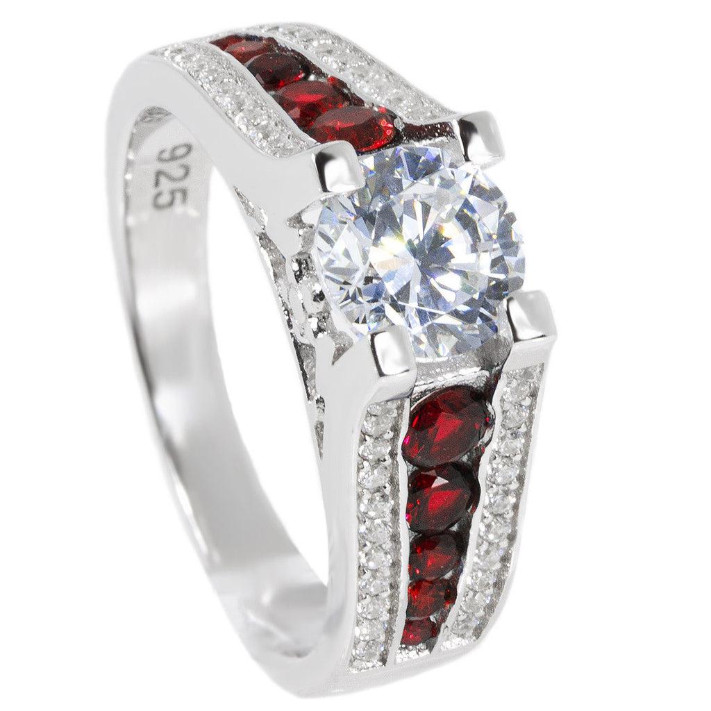 Thin Red Line Engagement Ring Sterling Silver CZ Round Main and