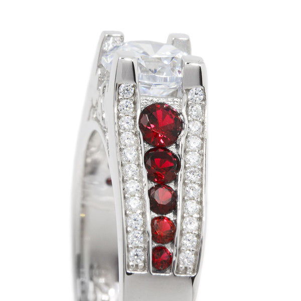 Thin Red Line Engagement Ring Sterling Silver CZ Round Main and Accents