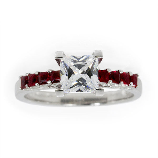 Thin Red Line Princess Cut with Red Accents Engagement Ring