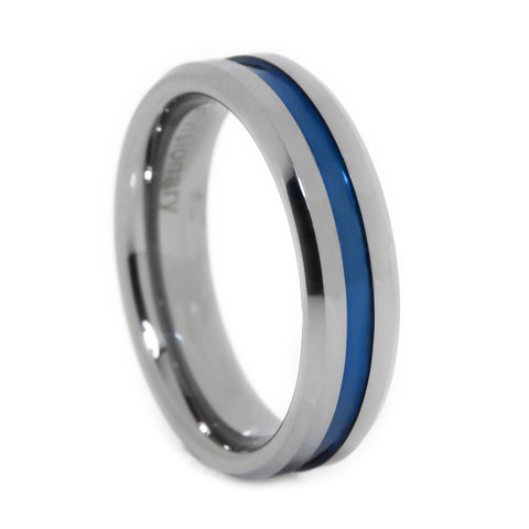 Thin Blue Line Tungsten Ring 6mm