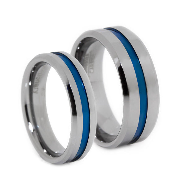 Thin Blue Line Tungsten Rings
