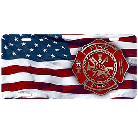 Firefighter Flag License Plate
