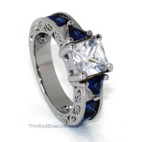 Thin Blue Line Engagement Ring with Blue Accents