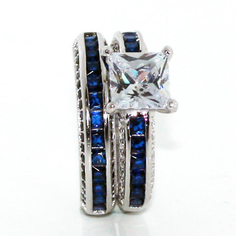Thin Blue Line Princess Cut Engagement Ring Set Black Accents