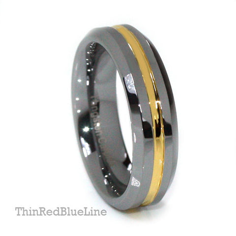 Thin Gold Line Tungsten Ring