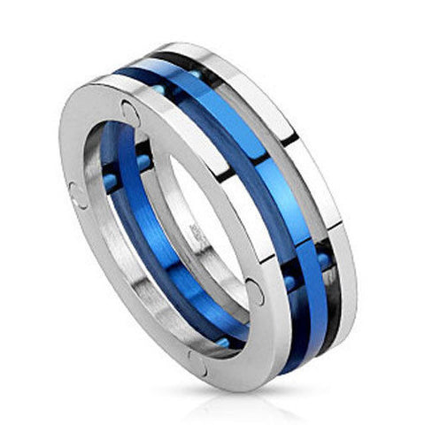 Thin Blue Line Three Band Stainless Steel Silver and Blue Ring