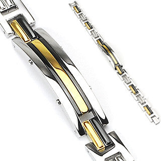 Thin Gold Line Dispatcher Bracelet Gold and Black Stainless Steel and Gold IP