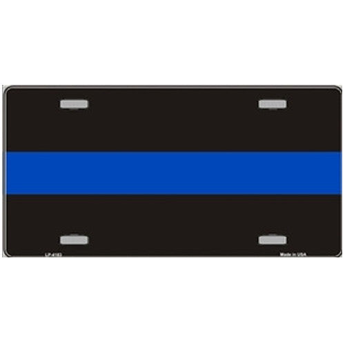 License Plate Thin Blue Line on Black