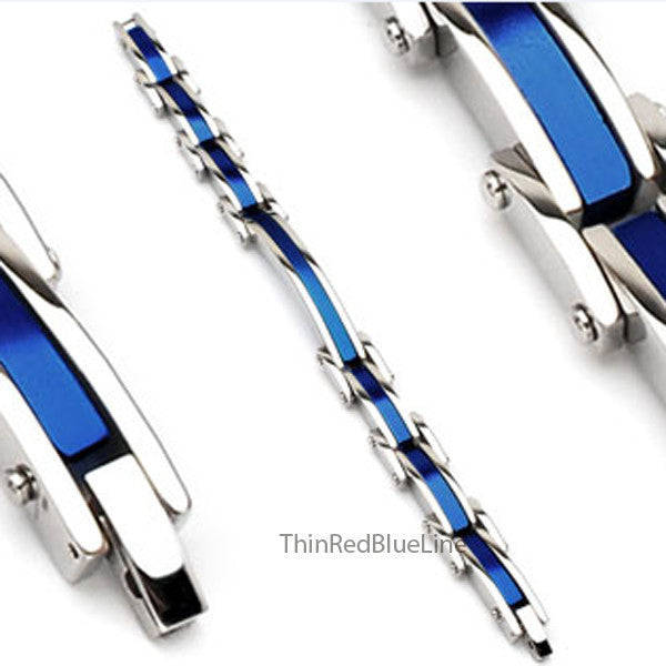 Thin Blue Line Steel Bracelet