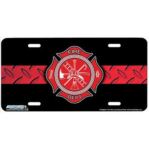 License Plate Firefighter Thin Red Line