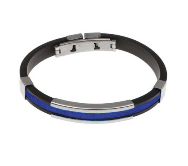 Thin Blue Line Black and Blue Silicone Rope Bracelet Adjustable Clasp