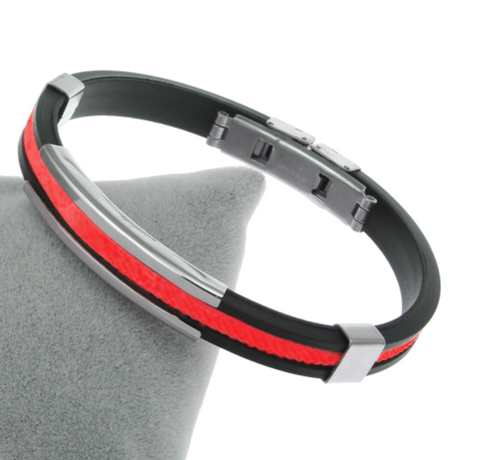 Thin Red Line Black and Red Silicone Rope Bracelet Adjustable Clasp