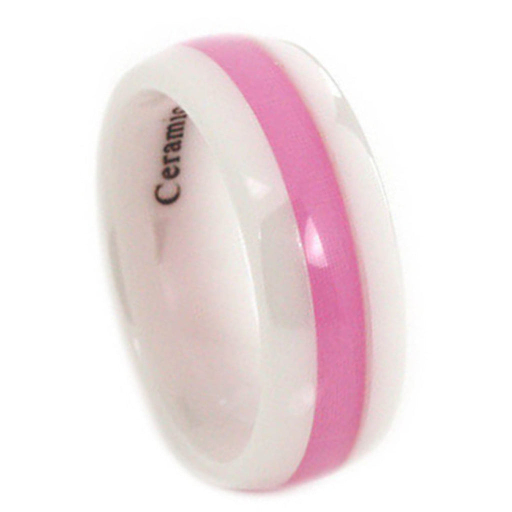 Breast Cancer Awareness White Ceramic Ring – Honor Valor