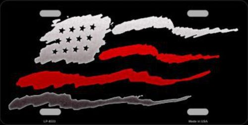 Thin Red Line American Flag Double Line License Plate