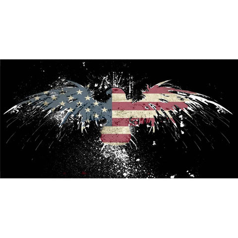 USA Eagle Splatter Paint License Plate