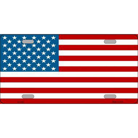 American Flag Metal License Plate