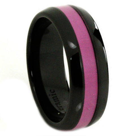 Breast Cancer Awareness Black Ceramic Ring