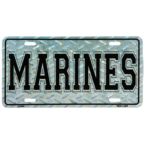 License Plate Black Marines Diamond Plate Texture