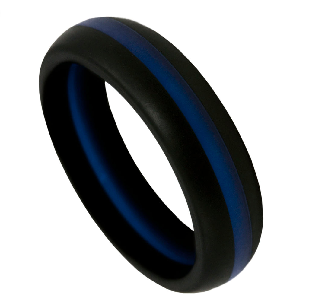 Thin Blue Line Silicone Band Ring 5.5mm