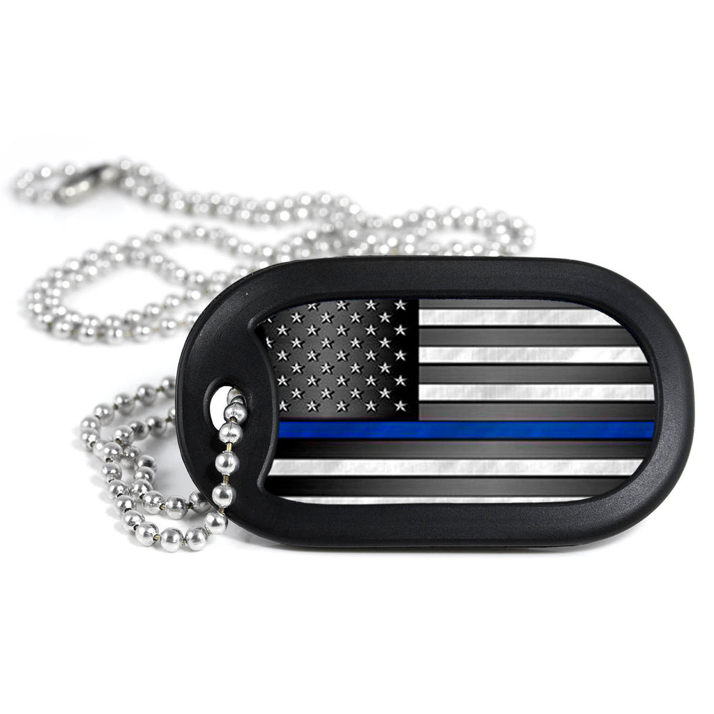 Thin Blue Line American Flag Metal Dog Tag Necklace