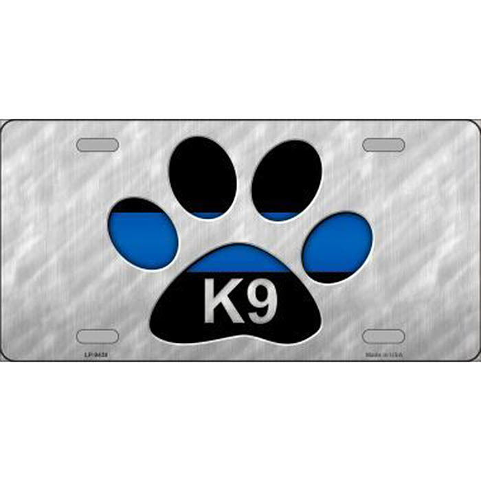 Thin Blue Line K9 Paw Print Metal License Plate