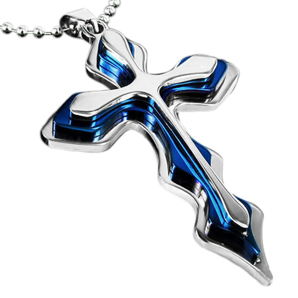 Thin Blue Line Cross Pendant and Chain