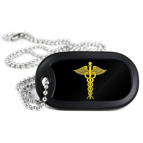 Caduceus Metal Dog Tag Necklace