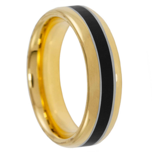 Memorial Band Golden 6mm Tungsten Ring