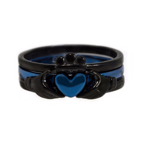 Thin Blue Line Claddagh Ring Black and Blue Stainless Steel 3 Piece Set