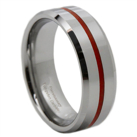 Tungsten Red Line Ring