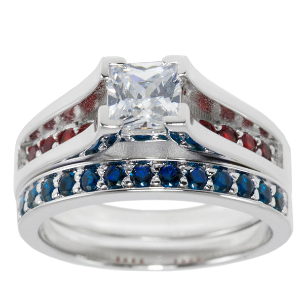 Thin Red Blue Line Engagement 2 Piece Set Sterling Princess Cut CZ